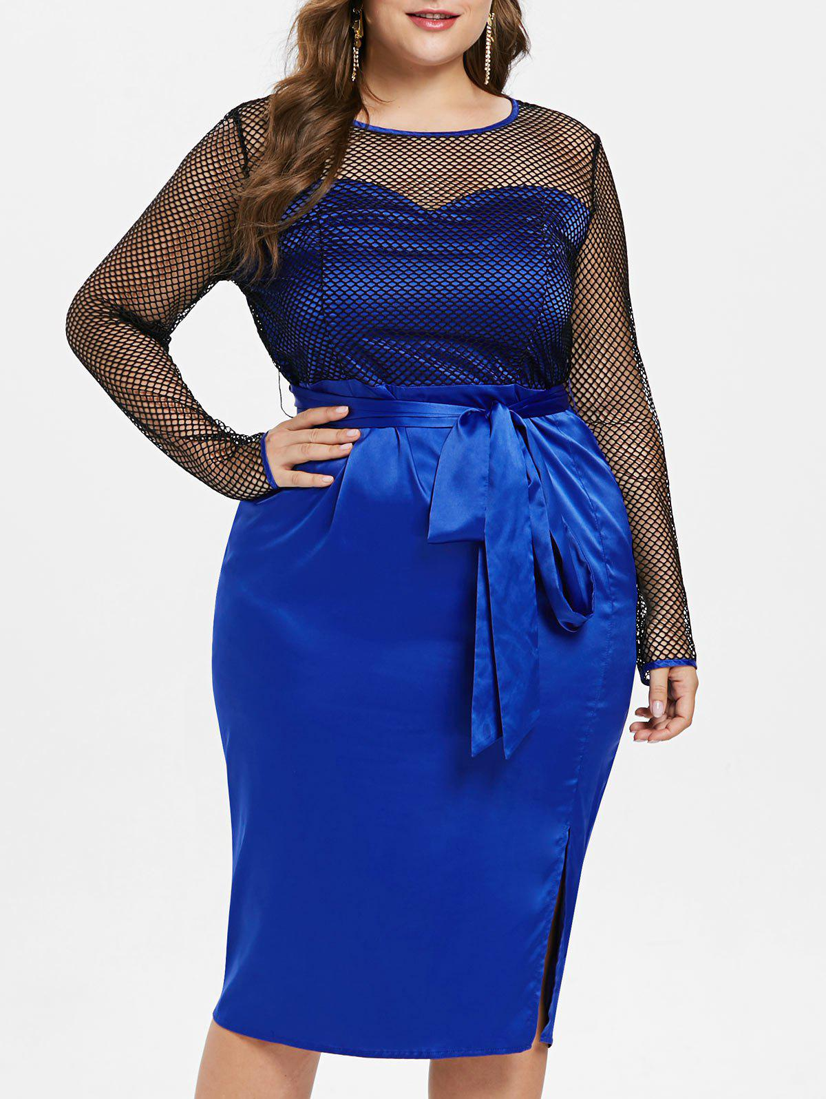 Fishnet Plus Size Belted Knee Length Dress - BLUE 3X
