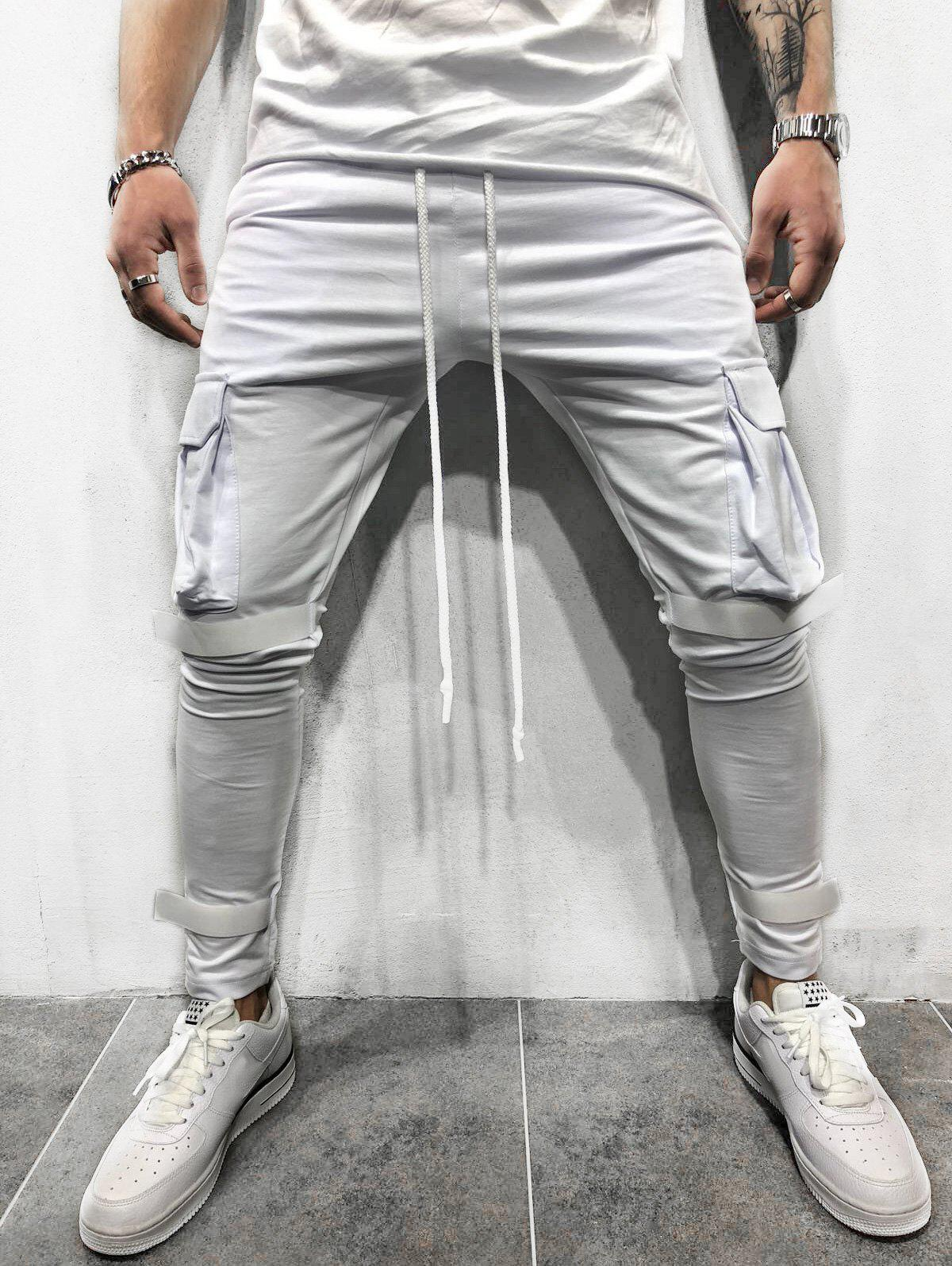 Casual Magic Tape Design Cargo Sweatpants - WHITE S