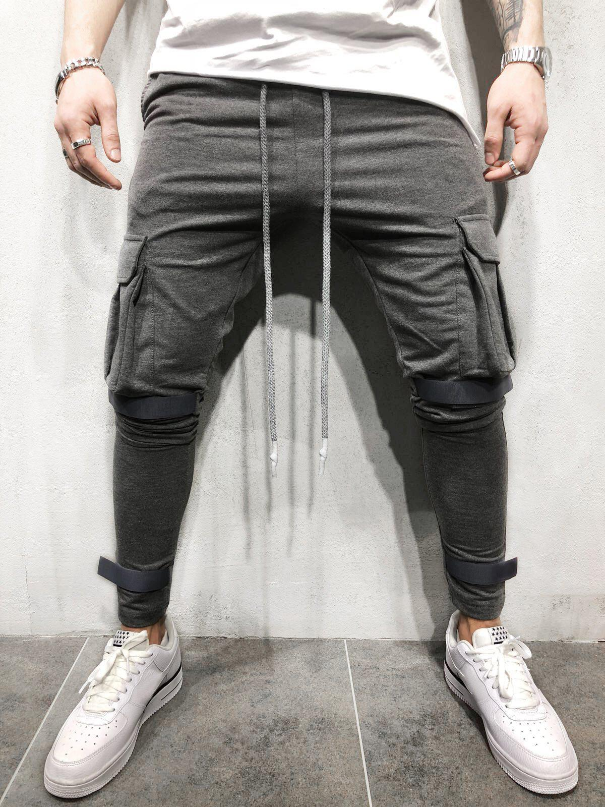 Casual Velcro Design Cargo Sweatpants - DARK GRAY S