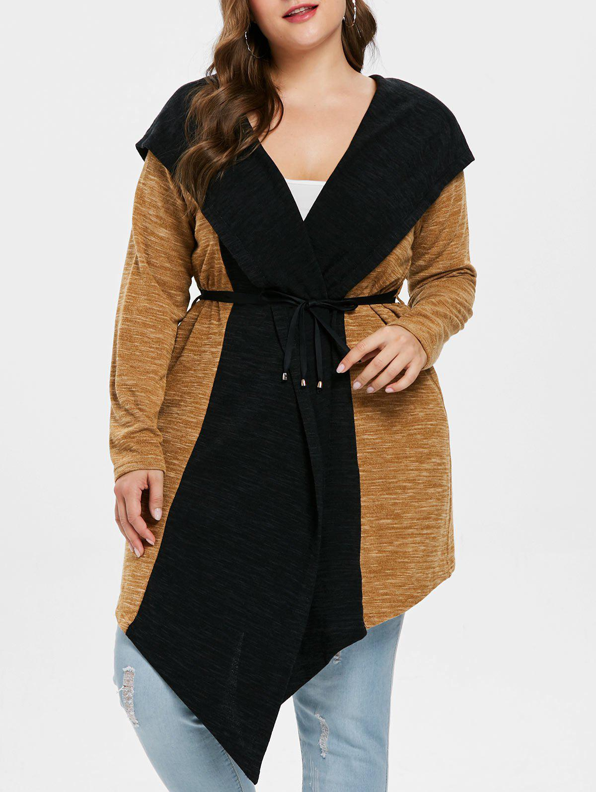 Plus Size Two Tone Hooded Coat