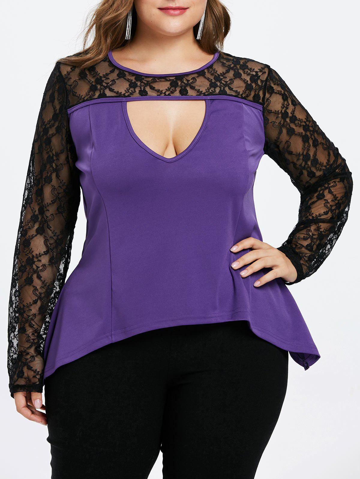 Lace Sleeve Cut Out Plus Size T-shirt