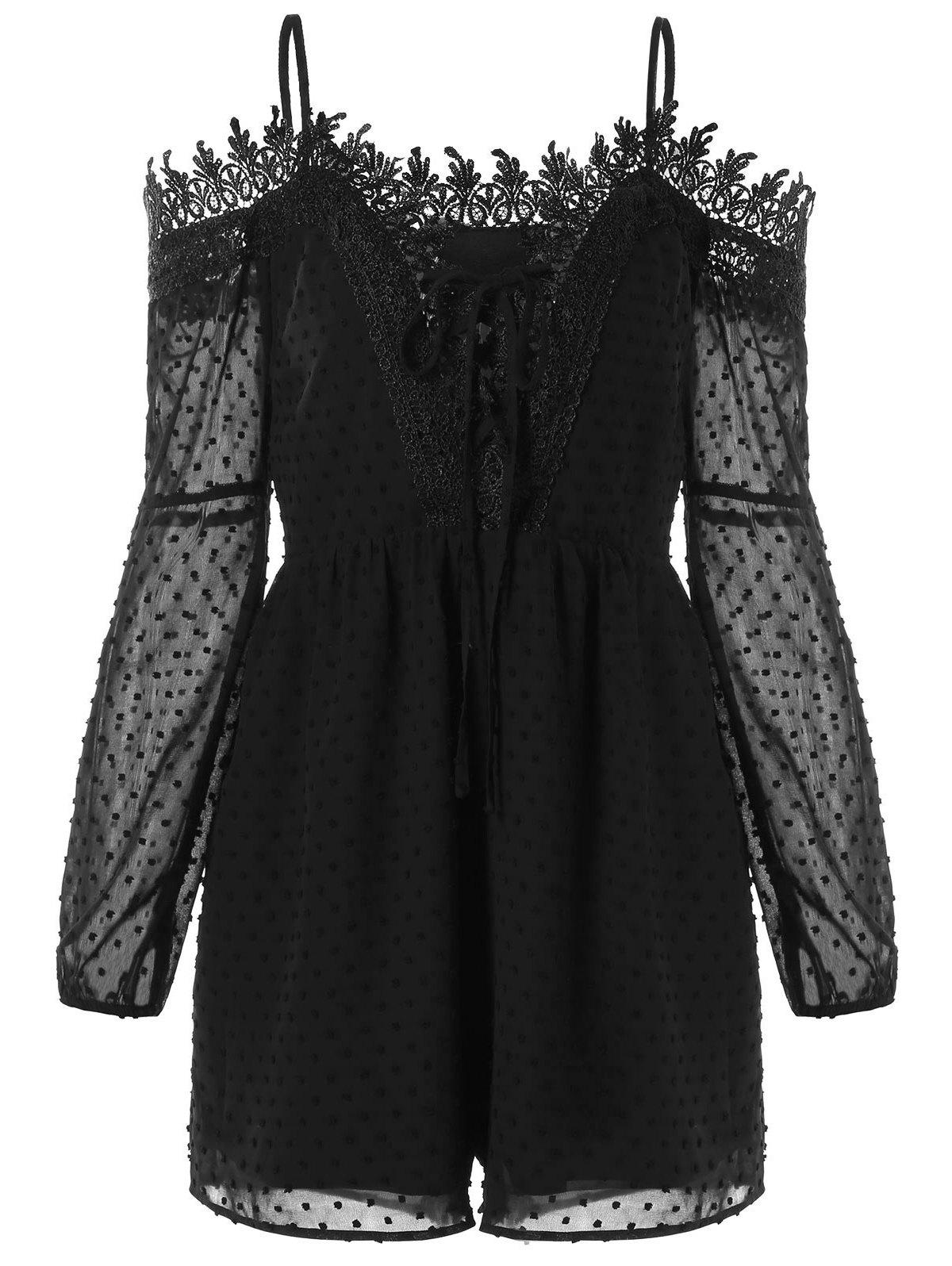 Long Sleeve Lace Trim Cold Shoulder Romper - BLACK L