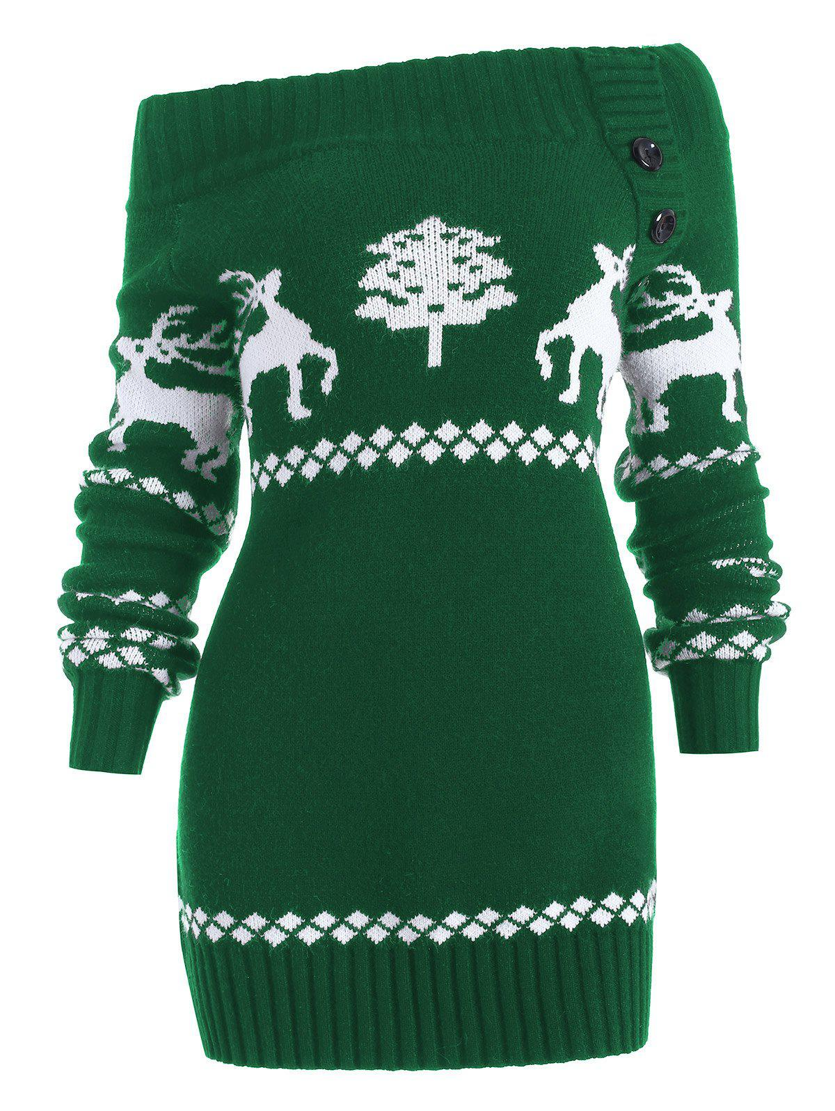 Off The Shoulder Reindeer Knit Tunic Sweater - GREEN S