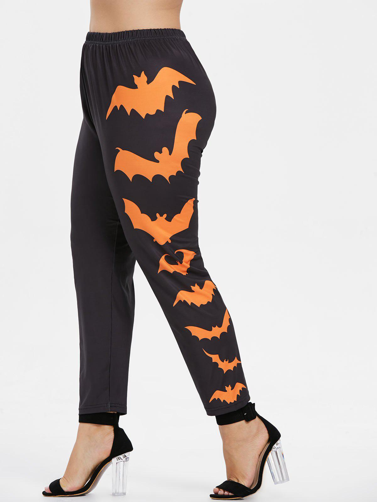 Plus Size Side Bat Pattern Elastic Waist Halloween Leggings - ORANGE 4X