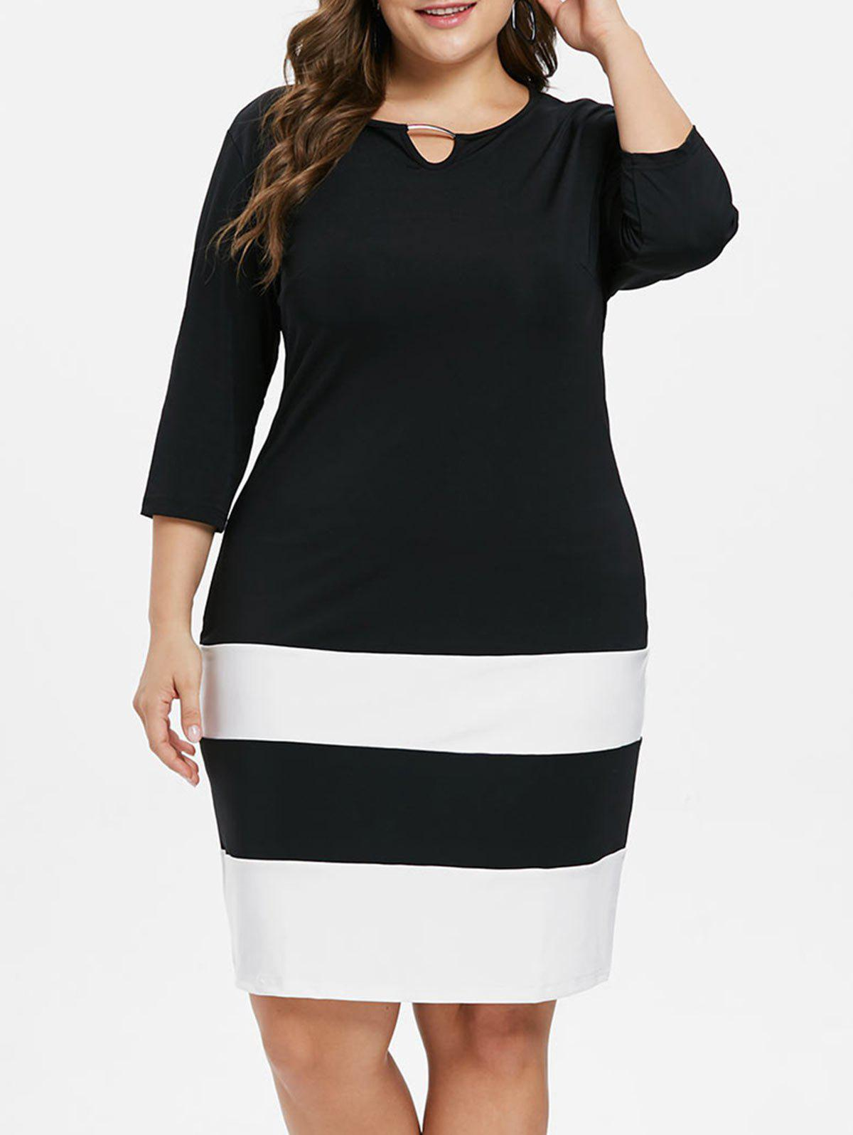 Plus Size Striped Color Block Dress - BLACK 2X