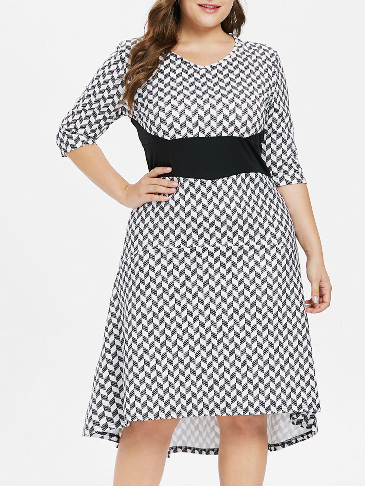 Plus Size Geometric Print Dip Hem Dress - BLACK 1X