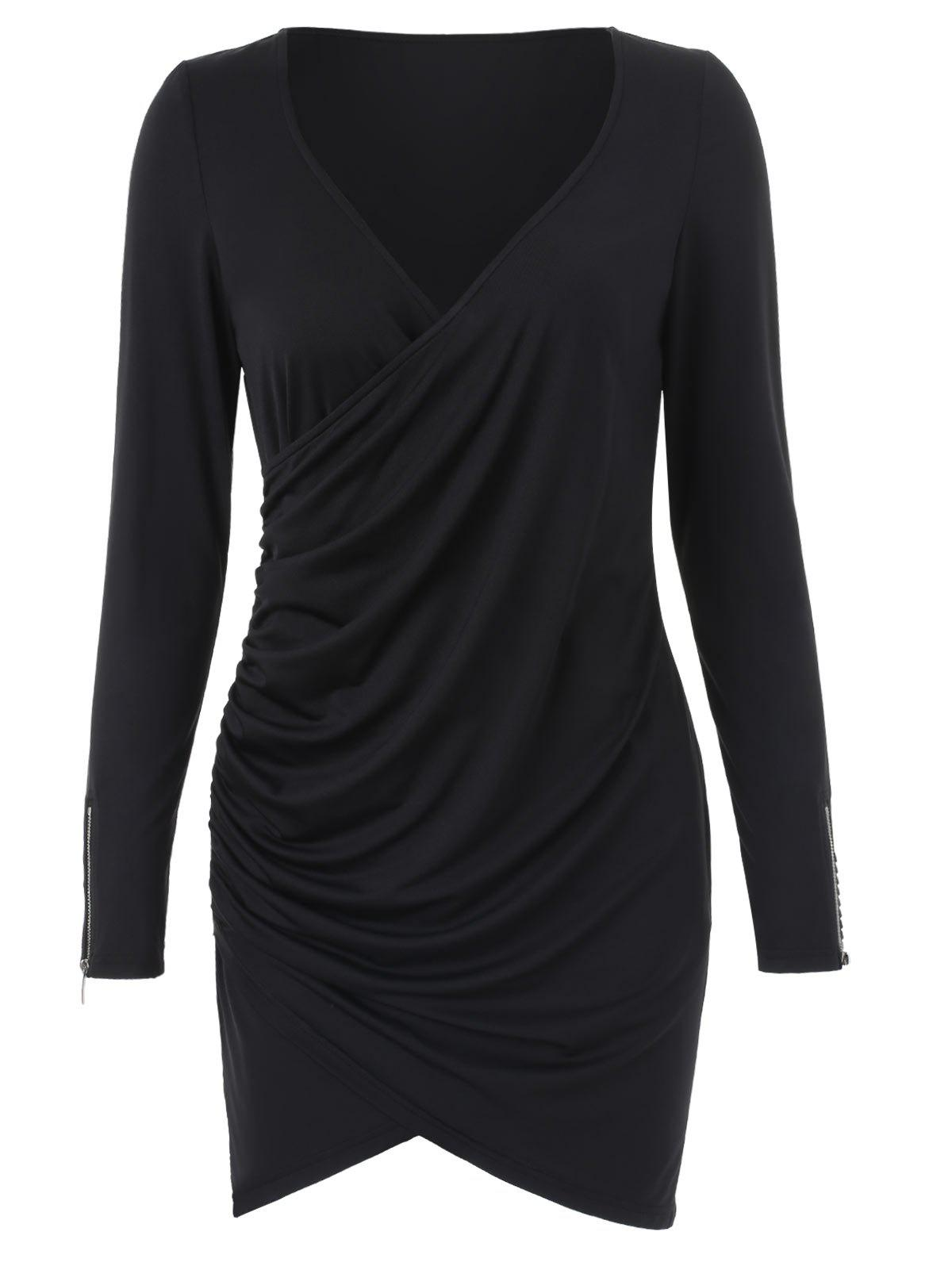 Long Sleeve Ruched Bodycon Dress with Zipper - BLACK M