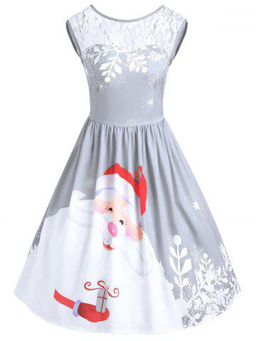 de3f6eb18fe2 Christmas Lace Insert Santa Claus Print Party Dress