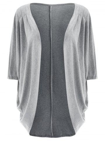 Trendy 3/4 Sleeve Loose Collarless Solid Color Cardigan For Women