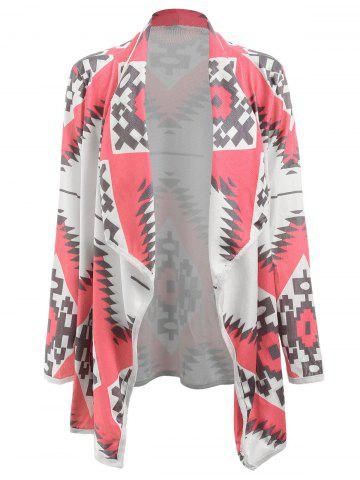 Stylish Long Sleeve Turn-Down Collar Geometric Print Women's Cardigan