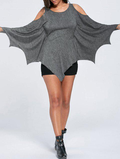 Halloween Cold Shoulder Batwing Top - HEATHER GRAY M