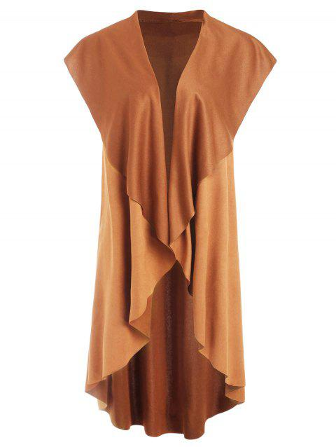 Asymmetrical Collarless Vest - LIGHT BROWN S