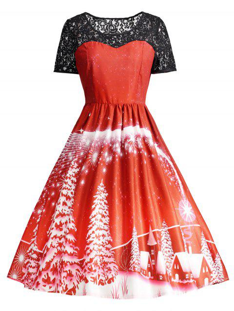 Print Lace Panel Vintage Party Dress - RED M