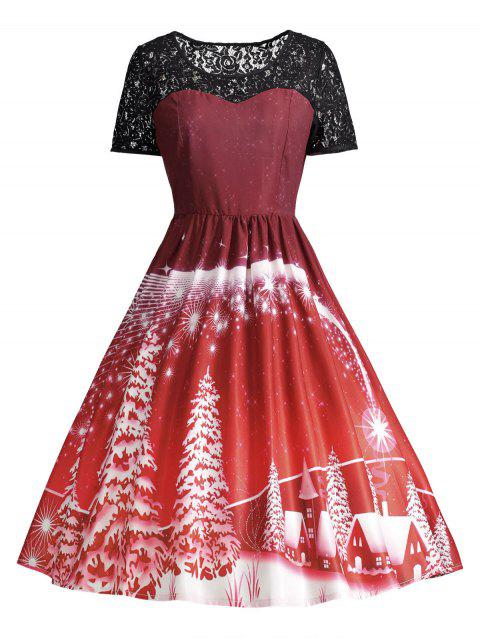 Print Lace Panel Vintage Party Dress - DARK RED XL