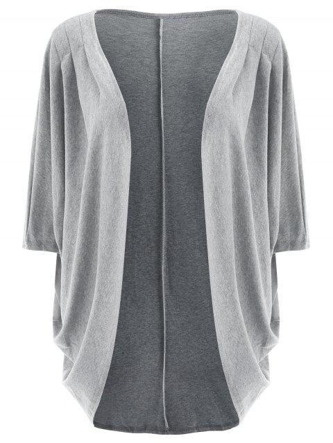 Trendy 3/4 Sleeve Loose Collarless Solid Color Cardigan For Women - GRAY L