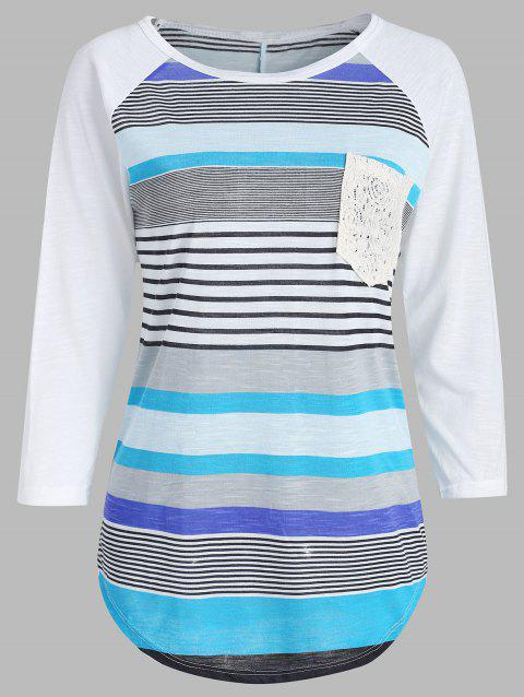 Casual Striped Lace Spliced 3/4 Sleeve Irregular T-Shirt For Women - BLUE XL