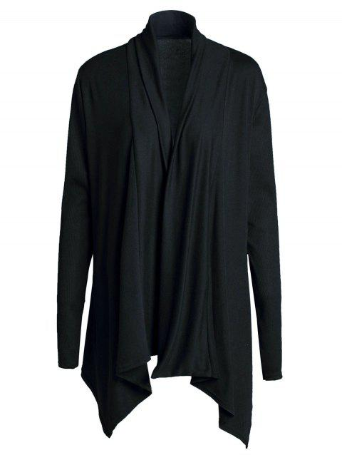 Chic Long Sleeve Turn-Down Neck Pure Color Women's Cardigan - BLACK S