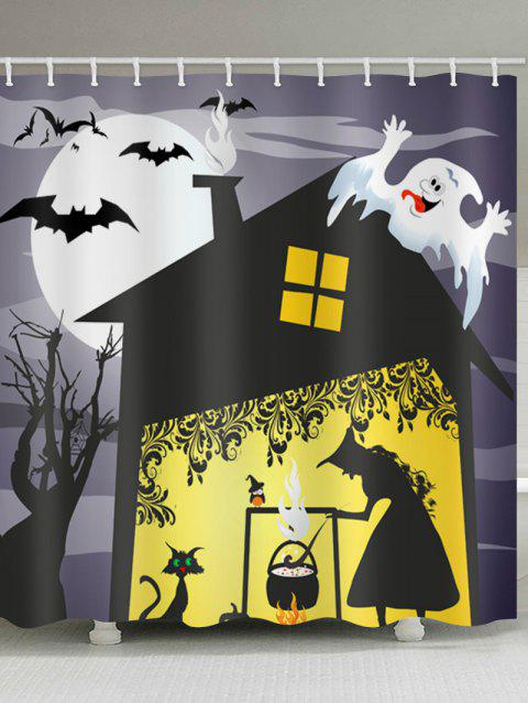Halloween Witch House Print Waterproof Shower Curtain - BLACK W71 X L79 INCH