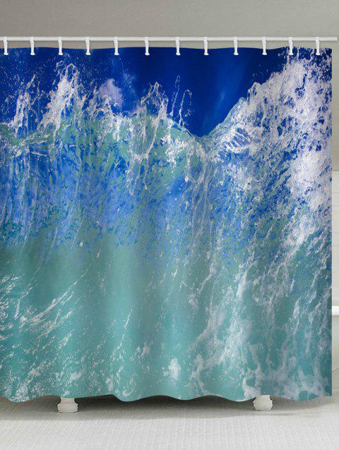 Sea Wave Printed Waterproof Shower Curtain - BABY BLUE W71 X L79 INCH