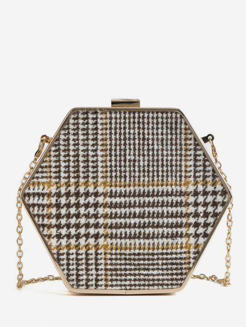 Geometric Shape Checked Print Chain Crossbody Bag - KHAKI