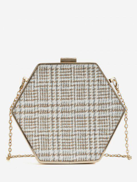 87548e56 41% OFF] 2019 Geometric Shape Checked Print Chain Crossbody Bag In ...