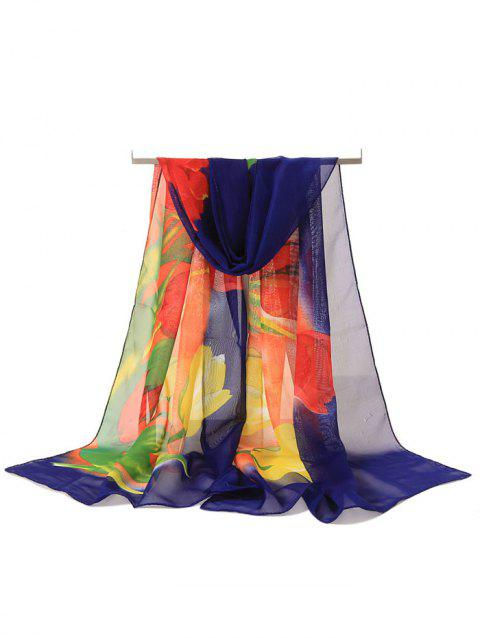 Elegant Floral Pattern Silky Long Scarf - multicolor A
