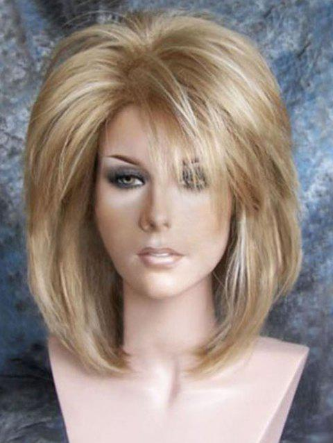 Medium Inclined Bang Colormix Fluffy Straight Synthetic Wig - multicolor