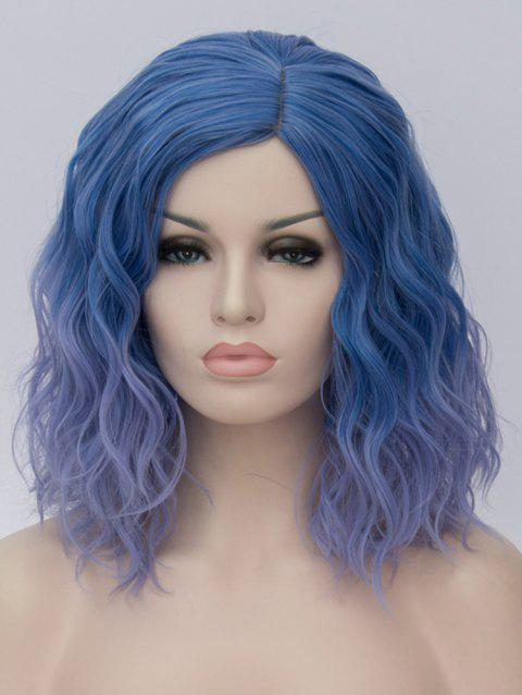Medium Side Parting Ombre Natural Wavy Cosplay Synthetic Wig - multicolor E
