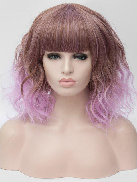 Medium Full Bang Ombre Natural Wavy Party Synthetic Wig - multicolor A