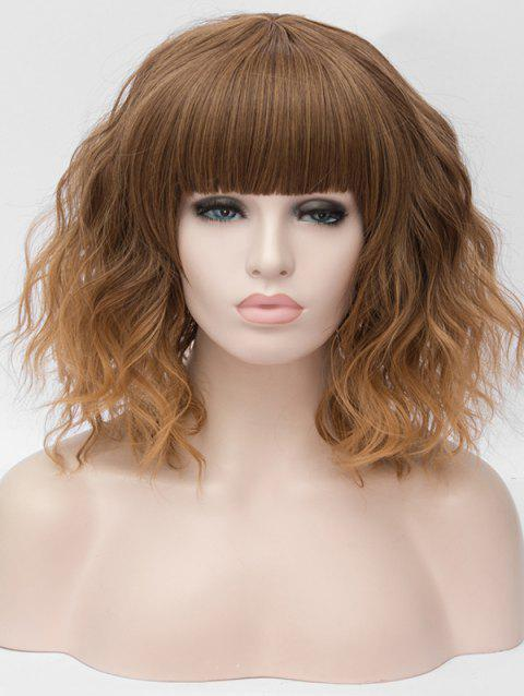 Medium Full Bang Ombre Natural Wavy Party Synthetic Wig - multicolor D