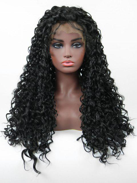 Free Part Long Lace Front Synthetic Curly Wig - BLACK 24INCH