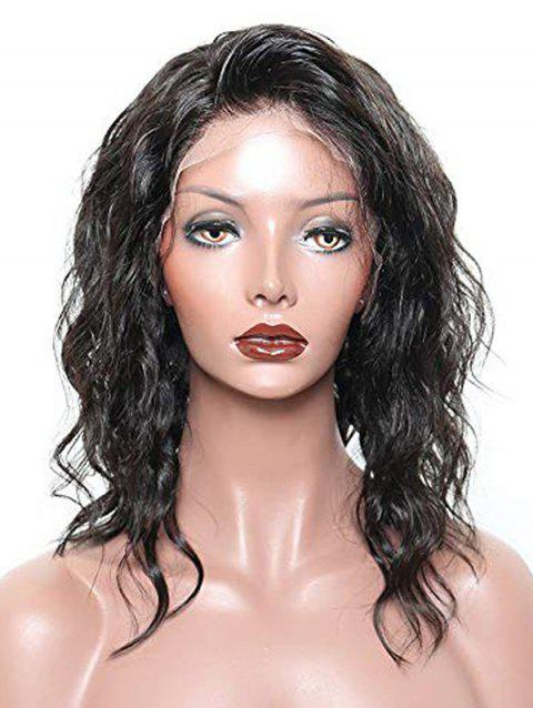 Short Free Party Natural Wavy Lace Front Human Hair Wig - NATURAL BLACK 12INCH