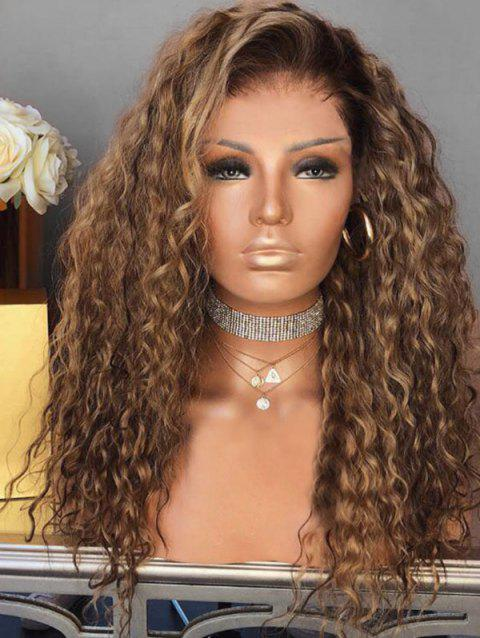 Short Inclined Bang Curly Colormix Party Synthetic Wig - BROWN