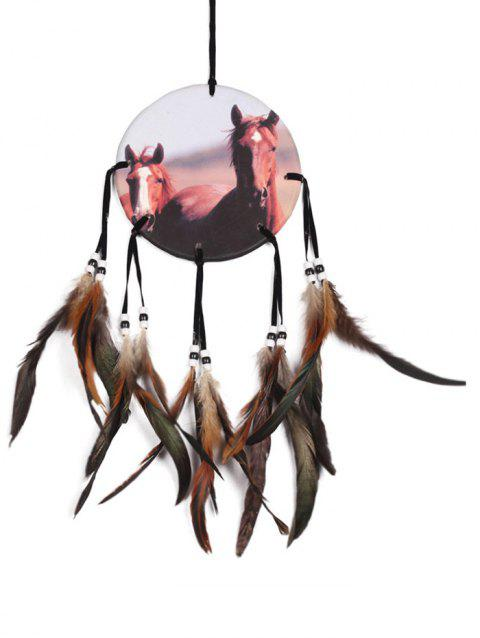 Horse Print Feathers Wall Hanging - multicolor 50*16CM