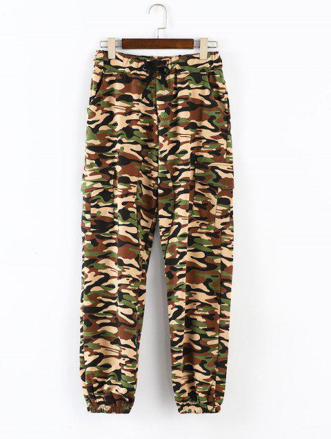 Camouflage Printed Pockets Cuffed Jogger Pants - WOODLAND CAMOUFLAGE L