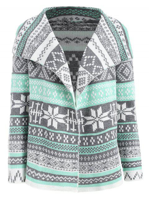 Geometric Pattern Long Sleeve Asymmetric Graphic Cardigan - COLORMIX L