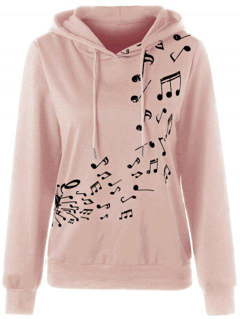 Sweat à Capuche Contrastant Imprimé Note Musicale - Rose 2XL