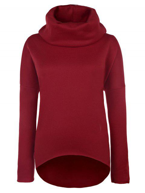 Loose Roll Neck Pullover Sweatshirt - RED XL