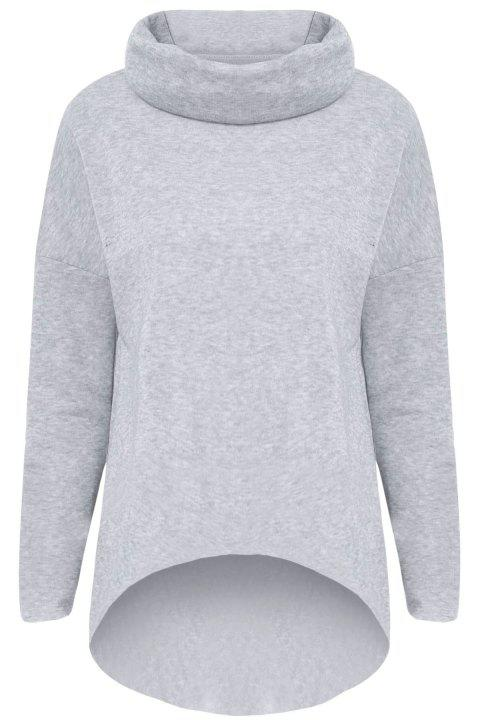 Loose Roll Neck Pullover Sweatshirt - GRAY XL