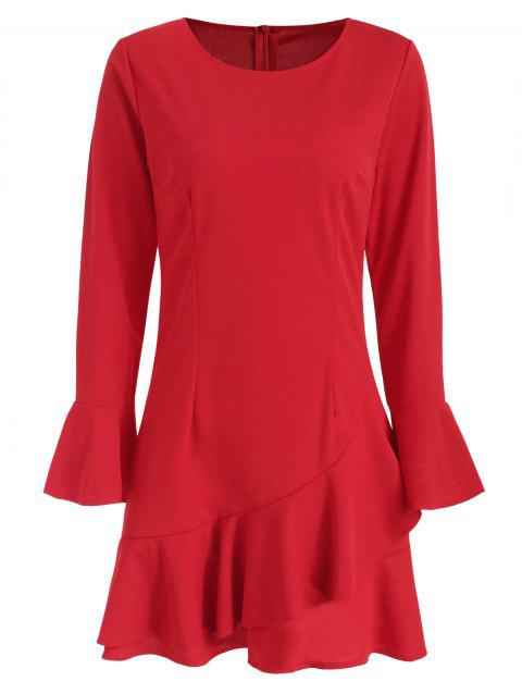 Flare Sleeve Drop Waist Flounce Dress - RED S