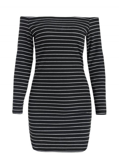 Long Sleeve Mini Striped Knitted Dress - BLACK M