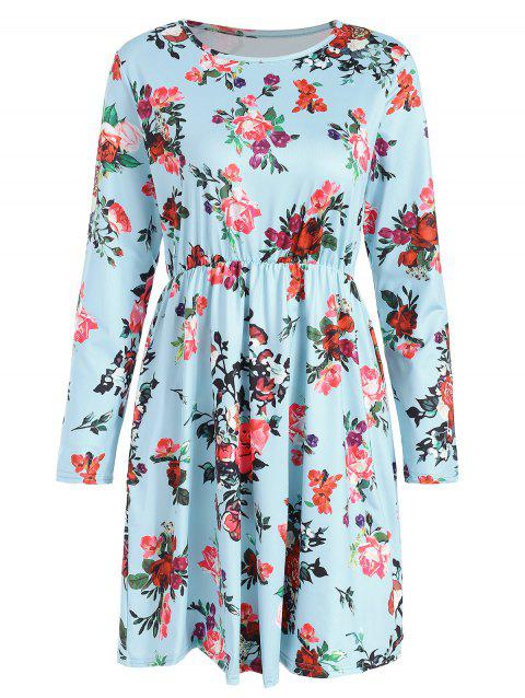 Long Sleeve Floral Print High Rise Dress - DAY SKY BLUE L