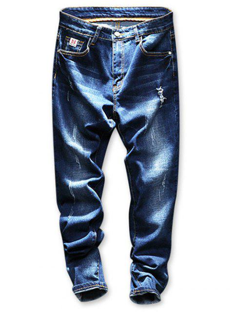 Destroyed Faded Wash Tapered Jeans - BLUE 32