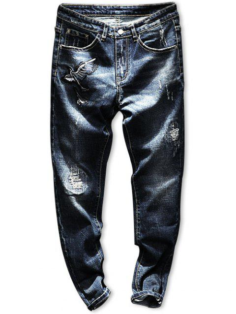 Zip Fly Embroidery Crane Distressed Jeans - BLUE 34