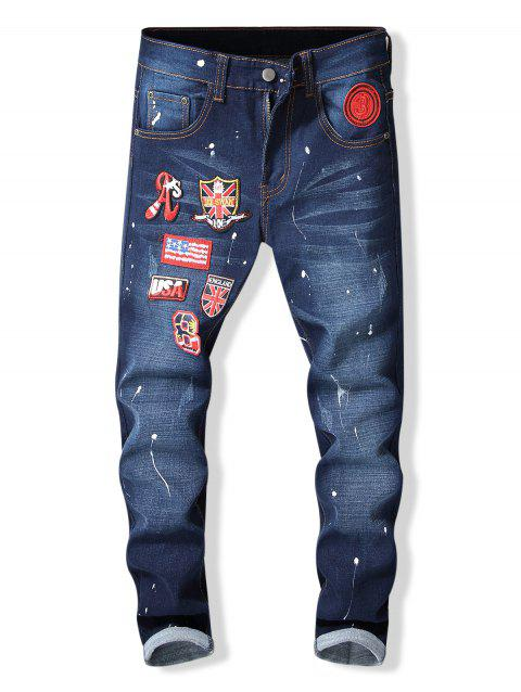 Applique Paint Splatter Tapered Jeans - BLUE 34