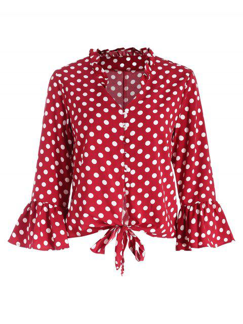 Flare Sleeve Polka Dot Blouse - CHERRY RED L