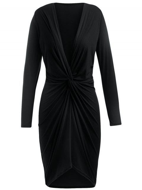 Twist Front Long Sleeve Plunging Neckline Dress - BLACK XL