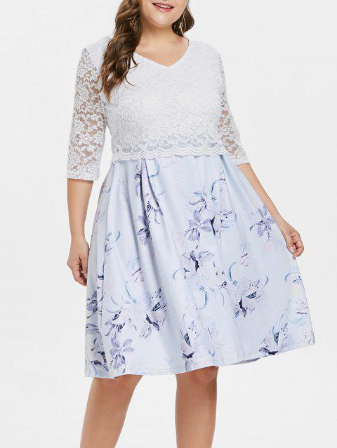 V Neck Plus Size Floral Print Dress - WHITE 2X