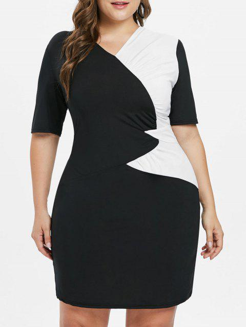 Plus Size Half Sleeve Sheath Dress - BLACK 3X