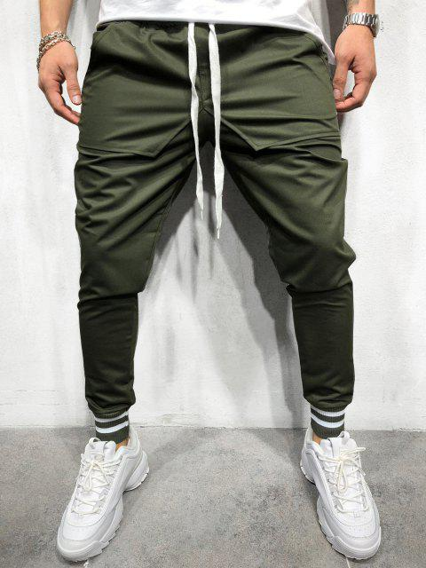 Casual Solid Pockets Sports Jogger Pants - ARMY GREEN M